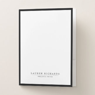 Classic Luxe Black and White Pocket Folder