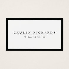 Classic Luxe Black And White With Social Media Business Card at Zazzle