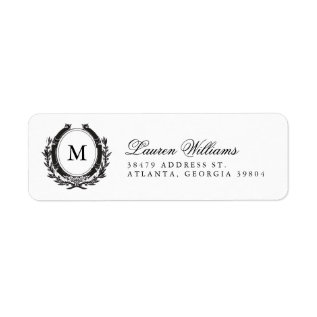 Classic Luxe Monogram Return Address Labels at Zazzle