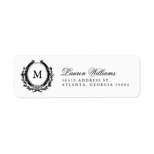 classic luxe monogram return address labels. Black Bedroom Furniture Sets. Home Design Ideas
