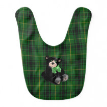 Classic MacArthur Plaid with Teddy Bear Baby Bib