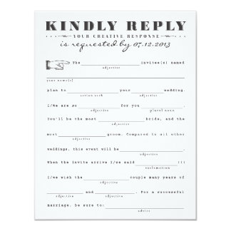 Classic Mad Libs Response Card Personalized Announcement