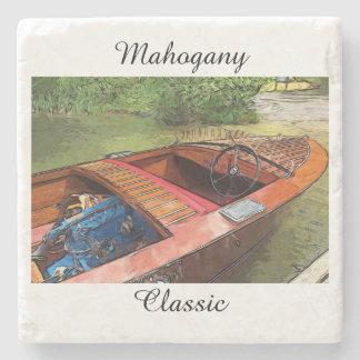 Classic Mahogany Boat Print On Stone Coaster