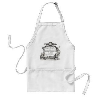 Classic map engraving with Neptune & sea monster Adult Apron