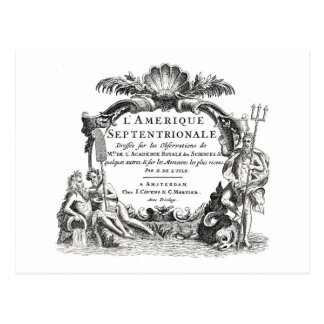 Classic map engraving with Neptune & sea monster Postcard