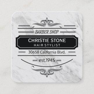 Classic Marble Retro Label Barber Square Business Card