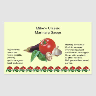 Classic Marinara Sauce Rectangle Jar Labels