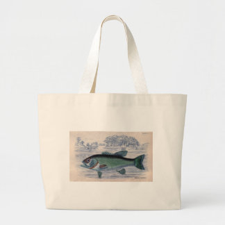 Classic Marine Etching - Grystes Salmoides Tote Bags