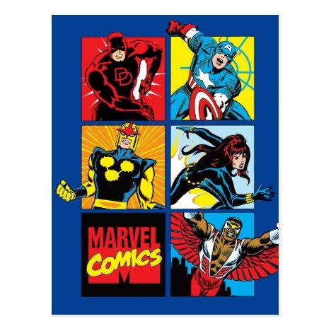 Classic Marvel Comics Super Heroes Postcard