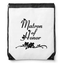 Classic Matron of Honor Drawstring Bag