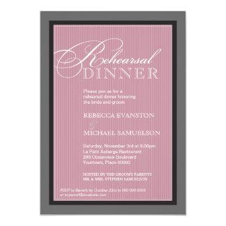"Classic Mauve Pinstripe Rehearsal Dinner 5"" X 7"" Invitation Card"