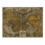 Classic Medieval Antique World Map by Oronce Fine Postcard