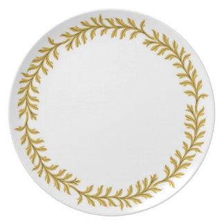Classic (Medieval, Greek or Roman) Floral Design Melamine Plate