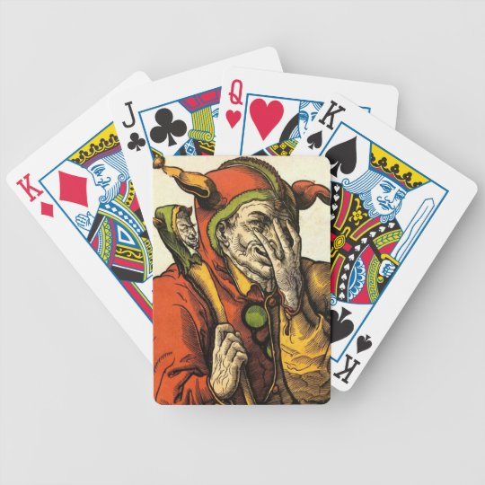Classic medieval Joker, Jester or Fool. Vintage. Bicycle Playing Cards