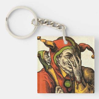Classic medieval Joker, Jester or Fool. Vintage. Keychain