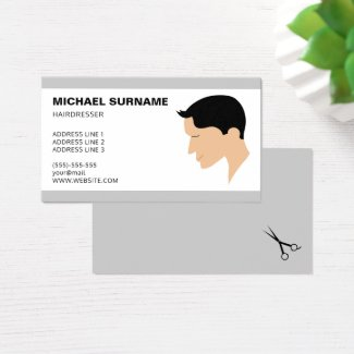 Classic Men's Haircut Illustration Barber Business Card