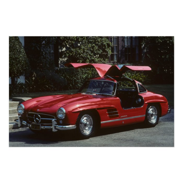 Classic mercedes benz slr300 gullwing poster zazzle for Mercedes benz wall posters