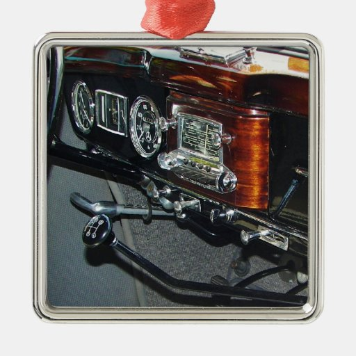 Classic mercedes dashboard square metal christmas for Mercedes benz christmas ornament