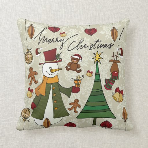Classic Merry Christmas Icons Pillow