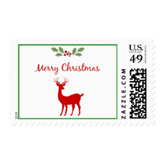 Classic Merry Christmas Red Reindeer Holly Berries Postage