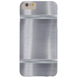 Classic Metal Steel Gloss Metallic Silver Gray Barely There iPhone 6 Plus Case