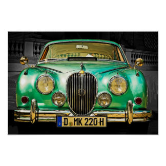 Classic Metallic Green Jaguar Sedan Poster