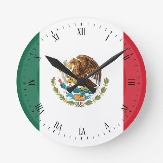 Classic Mexican Flag Round Clock