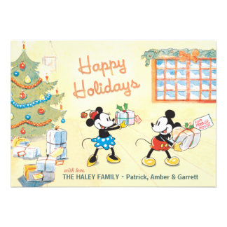 Classic Mickey and Minnie Happy Holidays Card Announcement