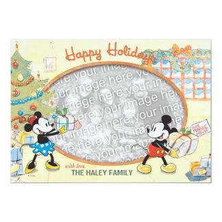 Classic Mickey and Minnie: Happy Holidays Card Custom Invitation