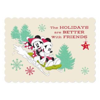 Classic Mickey and Minnie | Snow Sledding Card