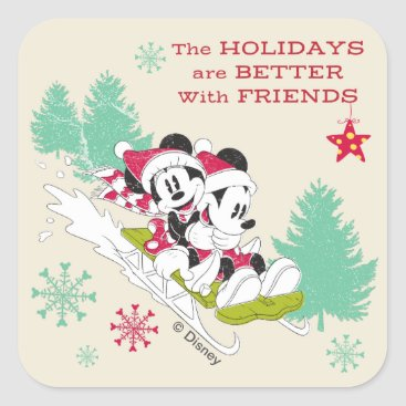 Disney Themed Classic Mickey and Minnie | Snow Sledding Square Sticker