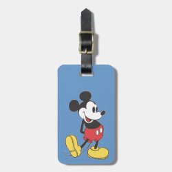 Small Luggage Tag with leather strap with Classic Mickey Mouse design