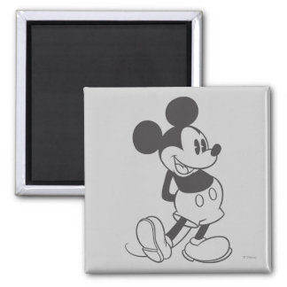 Classic Mickey | Black and White 2 Inch Square Magnet