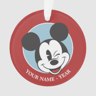 Classic Mickey | Head Tilt Wink Add Your Name Ornament