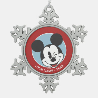 Classic Mickey | Head Tilt Wink Add Your Name Snowflake Pewter Christmas Ornament