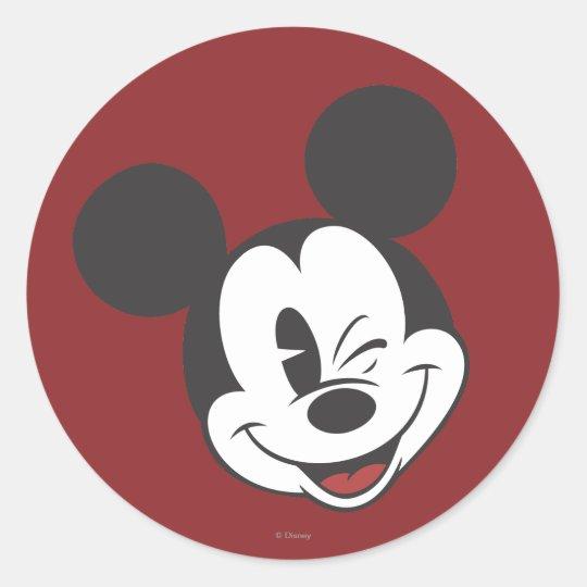 Classic Mickey | Head Tilt Wink Classic Round Sticker