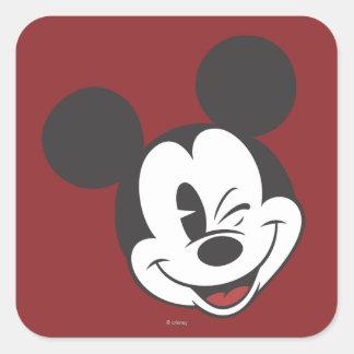 Classic Mickey   Head Tilt Wink Square Sticker