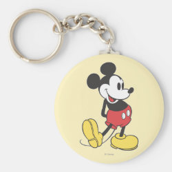 Basic Button Keychain with Classic Mickey Mouse design