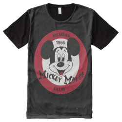 Men's American Apparel All-Over Printed Panel T-Shirt with Mickey Mouse Club Logo design