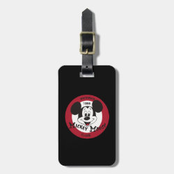 Small Luggage Tag with leather strap with Mickey Mouse Club Logo design