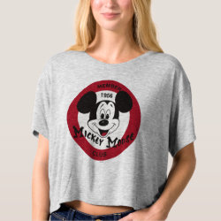 Women's Bella+Canvas Boxy Crop Top T-Shirt with Mickey Mouse Club Logo design
