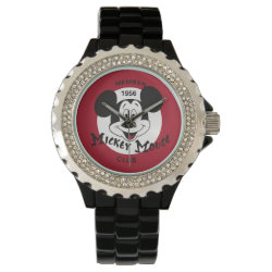 Women's Rhinestone Black Enamel Watch with Mickey Mouse Club Logo design