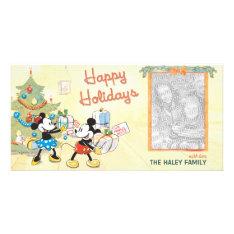 Classic Mickey & Minnie Holiday Photo Card at Zazzle
