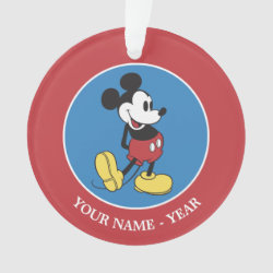 Circle Acrylic Ornament with Classic Mickey Mouse design