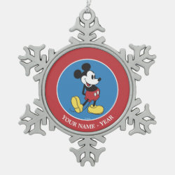 Pewter Snowflake Ornament with Classic Mickey Mouse design