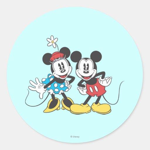 Classic Mickey Mouse & Minnie Round Sticker