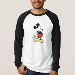 Men's Canvas Long Sleeve Raglan T-Shirt with Classic Mickey Mouse design
