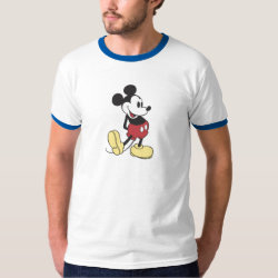 Men's Basic Ringer T-Shirt with Classic Mickey Mouse design