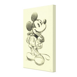 Premium Wrapped Canvas with Sketched Mickey Mouse Drawing design