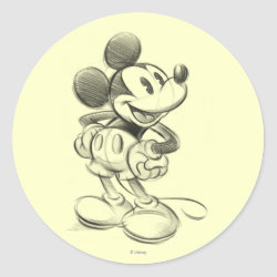 Round Sticker with Sketched Mickey Mouse Drawing design